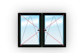 Двухстворчатое c двумя поворотно-откидными