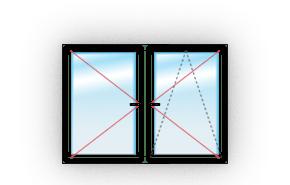 Двухстворчатое c одним поворотно-откидным и одним поворотным