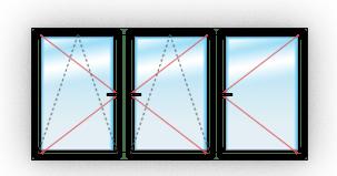 C двумя поворотно-откидными и одним поворотным