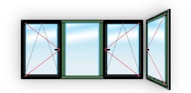 C двумя поворотно-откидными и одной поворотной - Г-образная