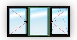 окно с одним поворотно-откидным и одним поворотным