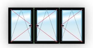 Окно C тремя поворотно-откидными